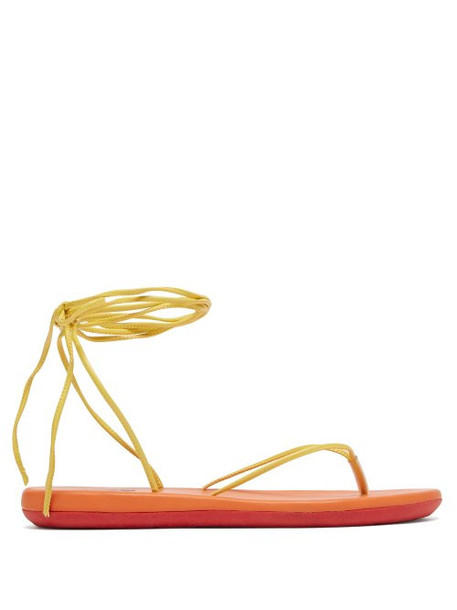Ancient Greek Sandals - Bi Colour Wraparound Leather Sandals - Womens - Yellow Multi