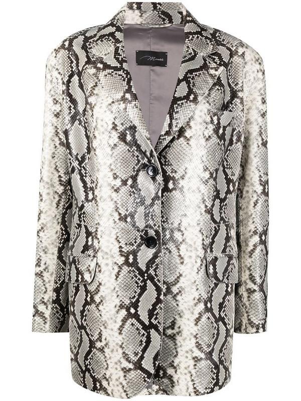 Manokhi Jared python-print leather blazer in grey