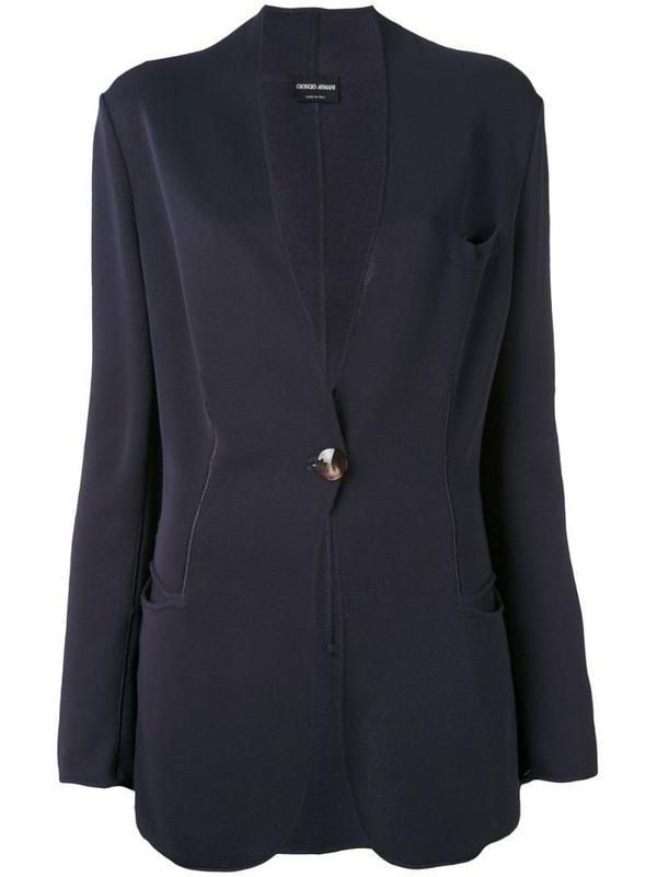 Giorgio Armani Pre-Owned scalloped blazer in blue