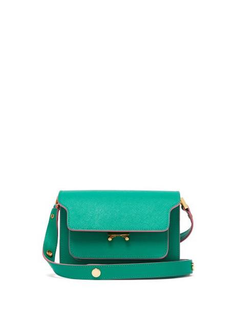 Marni - Trunk Mini Saffiano Leather Cross Body Bag - Womens - Green