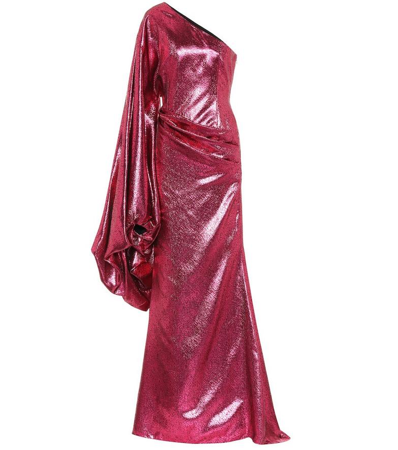 Halpern Metallic asymmetric gown in pink