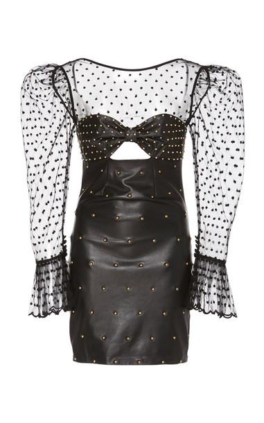Dundas Studded Point D'Esprit Mini Dress in black