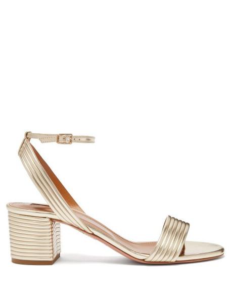 Aquazzura - Sundance 50 Leather Platform Sandals - Womens - Light Gold