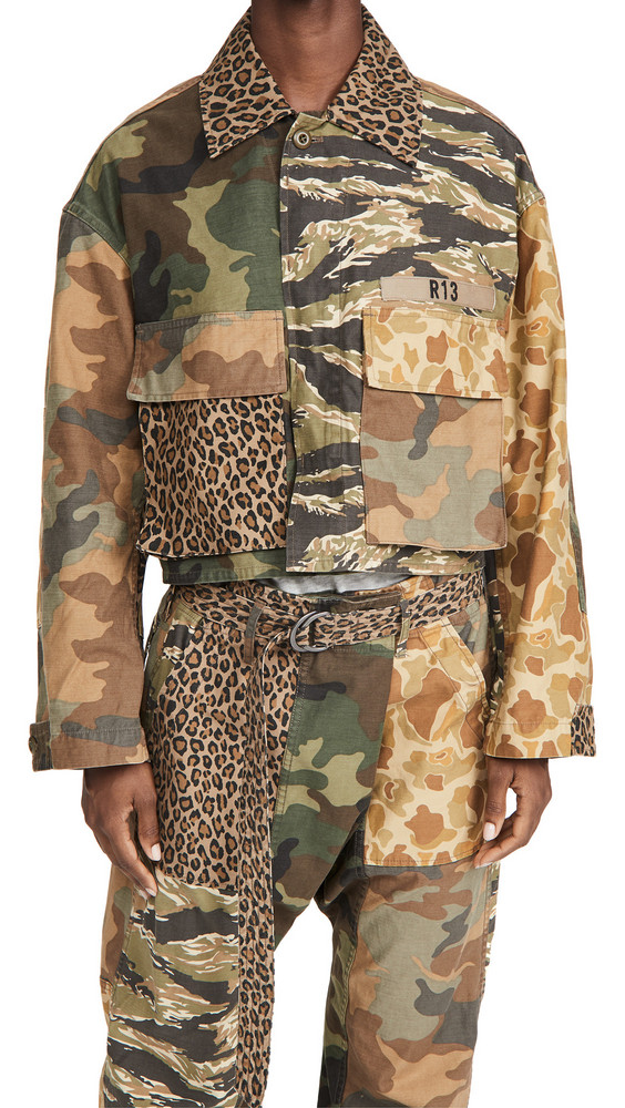 R13 Abu Cropped Jacket in multi