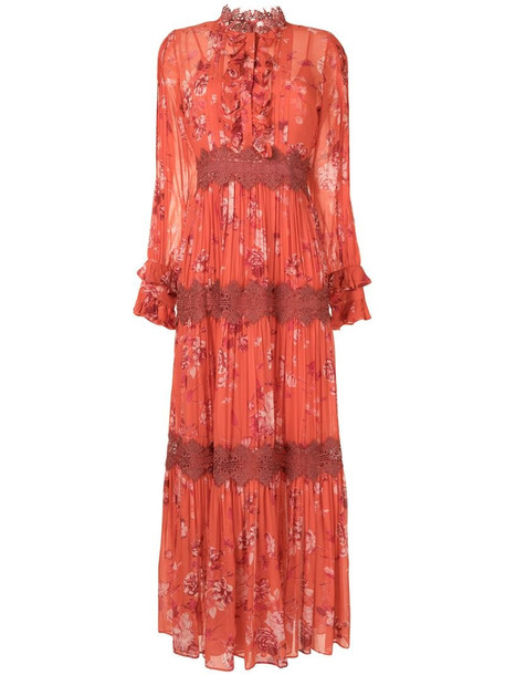 Alexis floral-print tiered maxi dress in orange