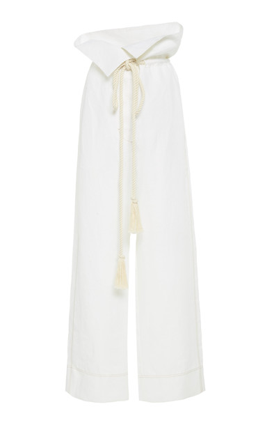 LEE MATHEWS Nico Linen Paper-Bag Pants Size: 0 in white