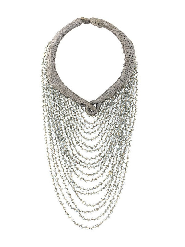 A.N.G.E.L.O. Vintage Cult 2000s beaded layered necklace in grey