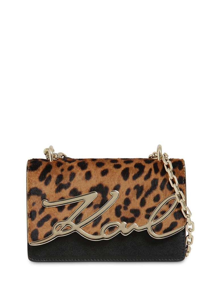 KARL LAGERFELD Signature Ponyskin & Leather Bag in leopard