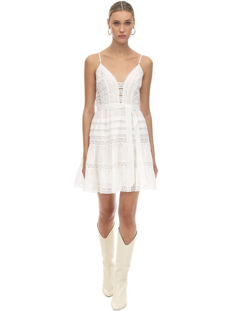 ZIMMERMANN Linen & Lace Mini Dress in ivory