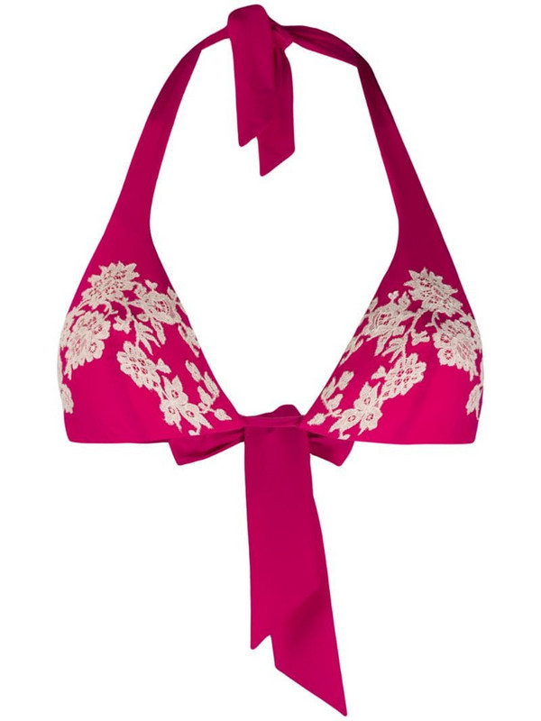 Carine Gilson lace applique bikini top in pink