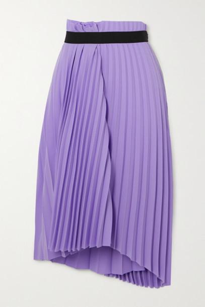 Balenciaga - Asymmetric Pleated Crepe Midi Skirt - Lilac