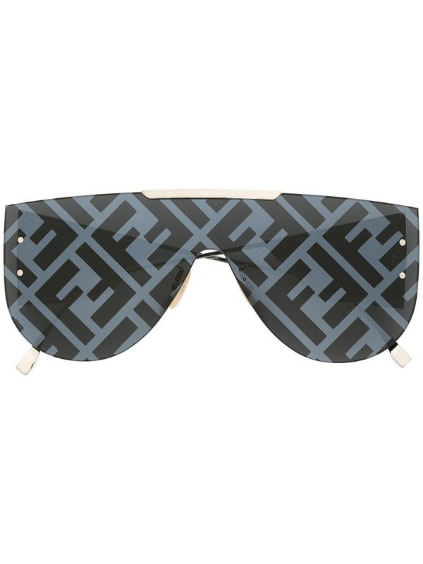 Fendi Eyewear aviator-frame logo-print sunglasses in black