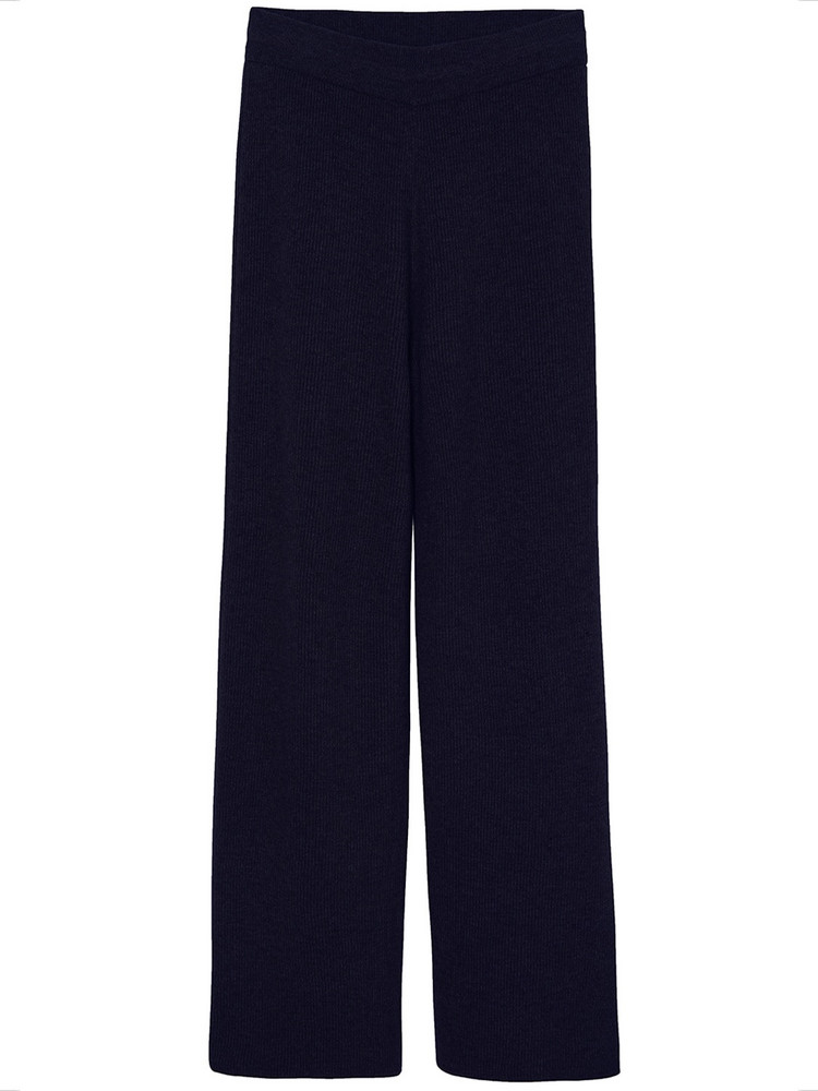 THE FRANKIE SHOP Rib Knit Lounge Wool Blend Pants in blue