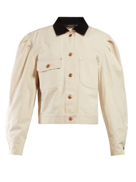 Isabel Marant - Iolana Puffed Sleeve Denim Jacket - Womens - Ivory