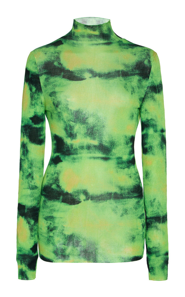 Versace Tie-Dyed Silk Turtleneck Top Size: 36 in green