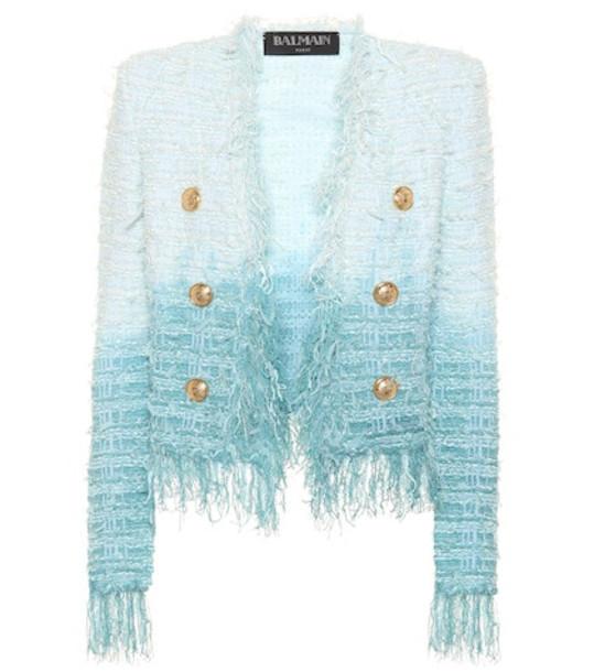 Balmain Fringed tweed jacket in blue