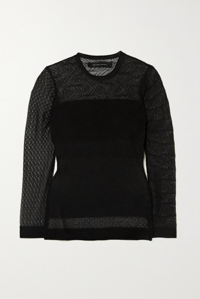 Roland Mouret - Ellis Pointelle And Ribbed-knit Top - Black