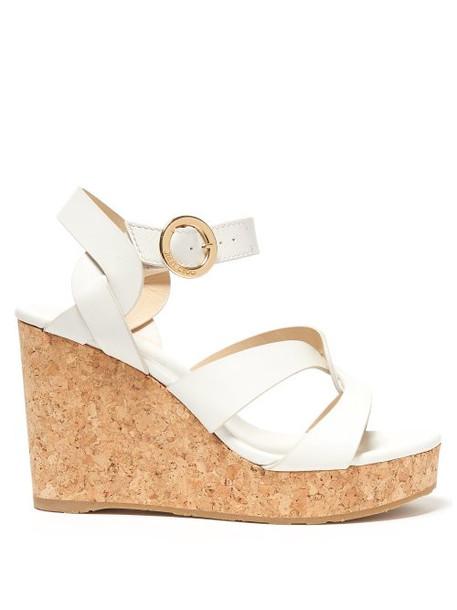 Jimmy Choo - Aleili 100 Wedge Leather Sandals - Womens - White