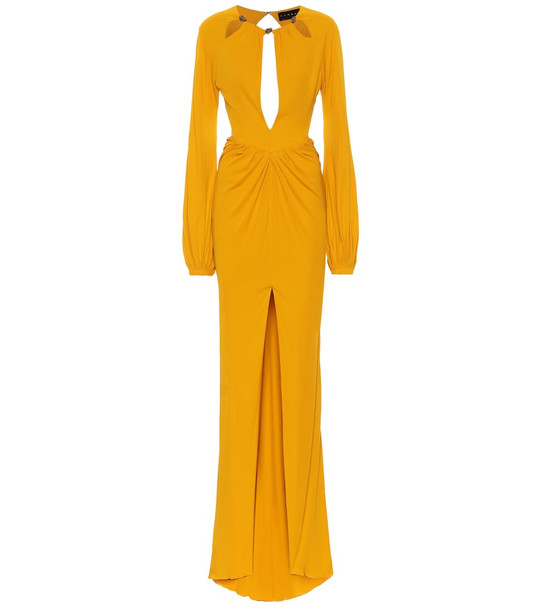 Dundas Embellished crêpe-jersey gown in yellow