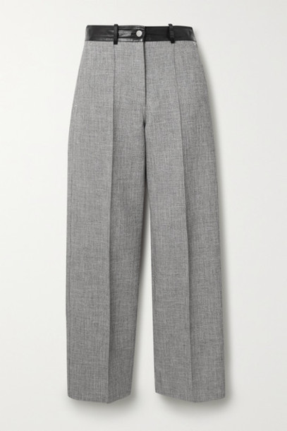Peter Do - Fireman Cropped Leather-trimmed Tweed Straight-leg Pants - Gray