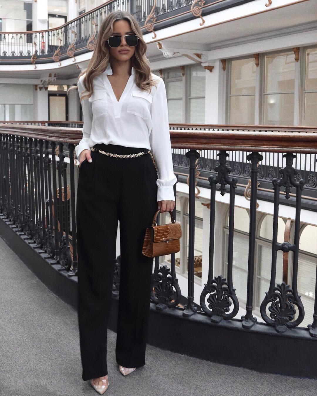 top white shirt black pants high waisted pants pumps brown bag handbag sunglasses classy
