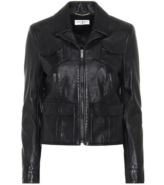Saint Laurent Cropped leather biker jacket in black