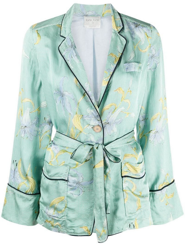 Forte Forte floral-print single-breasted blazer in green