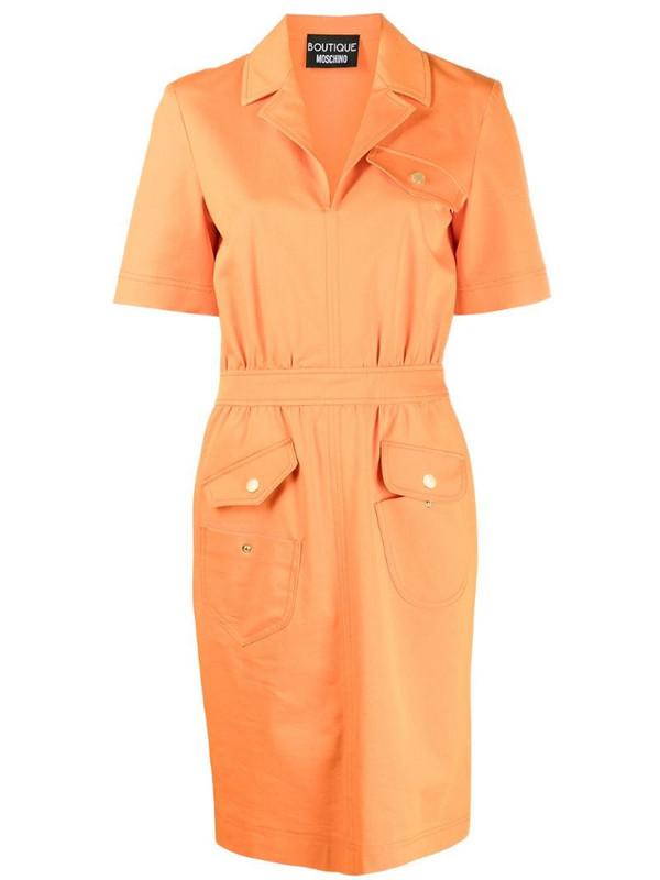 Boutique Moschino multi-pocket midi dress in orange