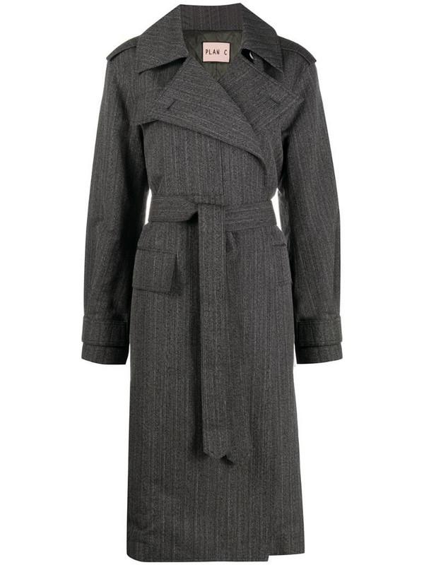 Plan C belted printed-back melange stripe coat in black
