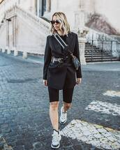 jacket,black blazer,oversized,black shorts,white sneakers,black belt,black top,dior bag