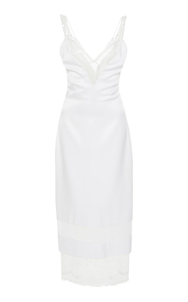 Cushnie Mesh And Lace-Paneled Silk-Satin Dress Size: 6 in white