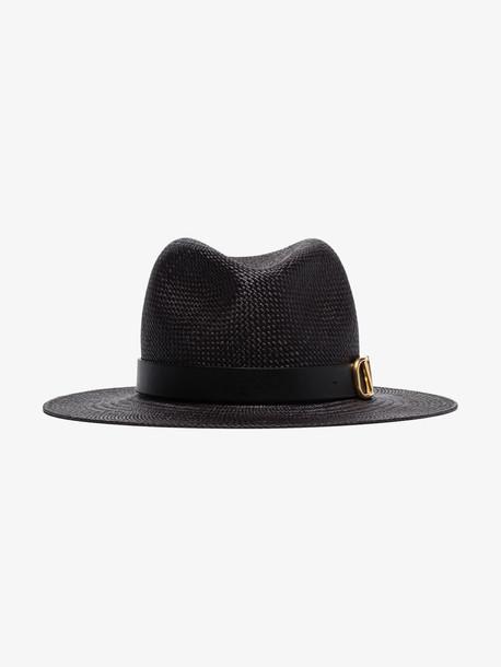 Valentino black Garavani VLOGO straw hat