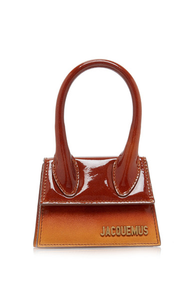 Jacquemus Le Chiquito Ombré Patent-Leather And Suede Bag in orange