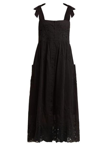 Juliet Dunn - Broderie Anglaise Cotton Midi Dress - Womens - Black