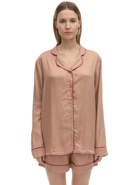 UNDERPROTECTION Lisa Long Sleeves Satin Pajama Shirt in beige