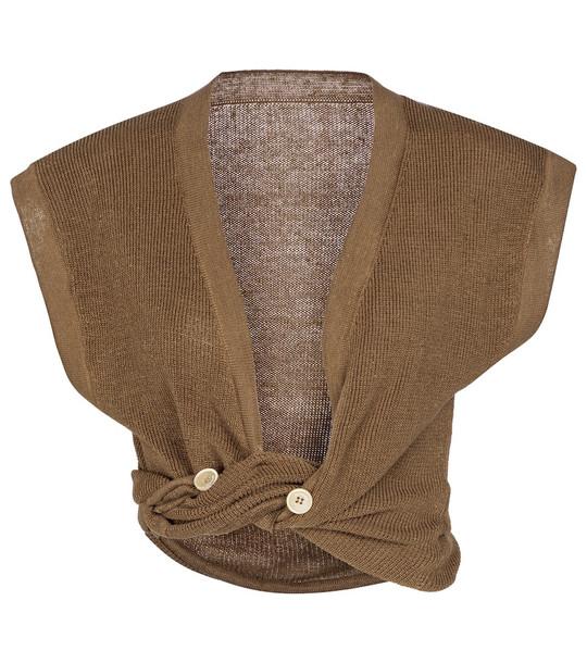 Jacquemus Le Haut Noué linen-blend cardigan in brown