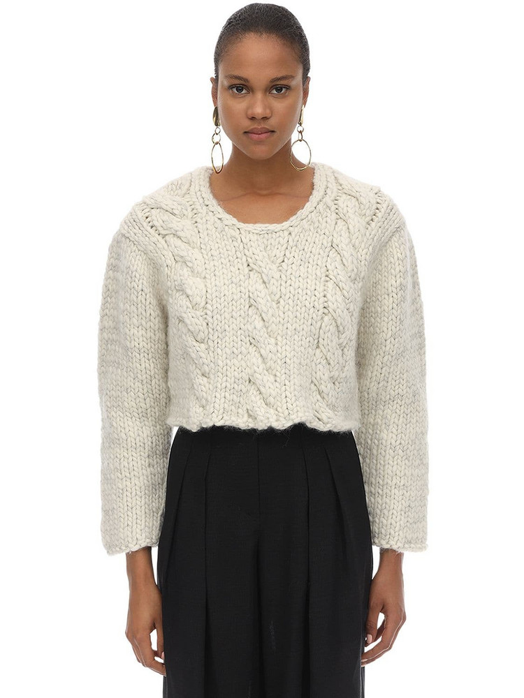 JACQUEMUS Mélange Cropped Wool Knit Sweater in ecru