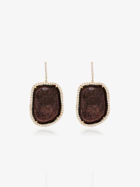 Kimberly Mcdonald Deep red geode drop earrings with diamonds