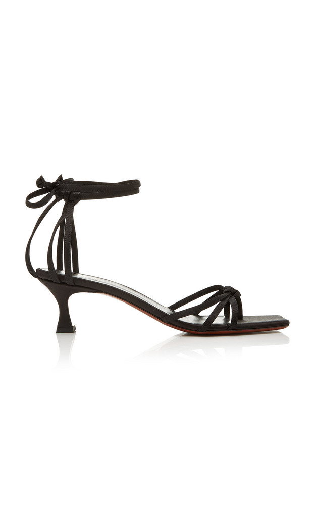 Manu Atelier Lace-Up Leather Sandals in black