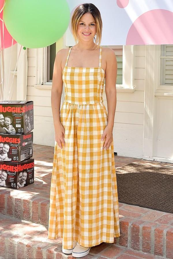 dress gingham yellow yellow dress celebrity rachel bilson maxi dress sneakers