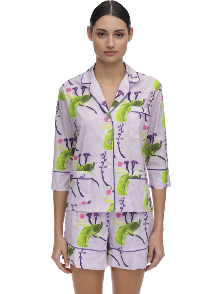 LAURA URBINATI Printed Stretch Poplin Pajama Shirt in lilac / multi