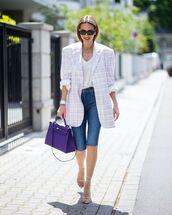 jacket,plaid blazer,denim shorts,sandal heels,bag,white shirt