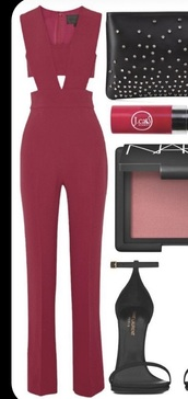 jumpsuit,red jumpsuit,red wine,red