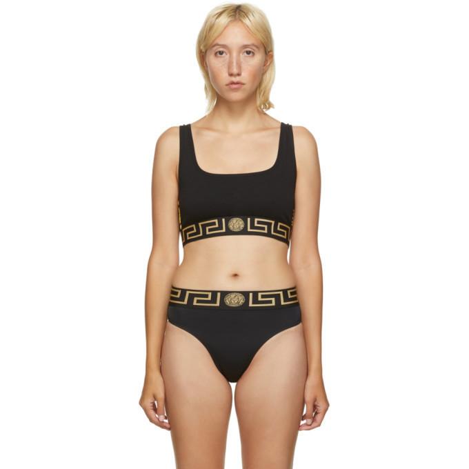 Versace Underwear Black Athletic Grecco Band Sports Bra in nero