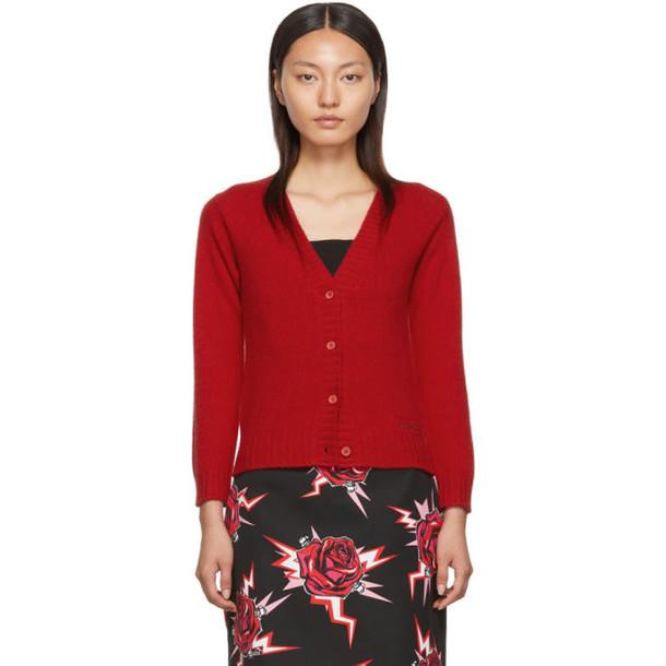 Prada Red Knit Logo Cardigan