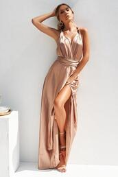 dress,satin dress,maxi,thigh high split,mocha,formal,prom
