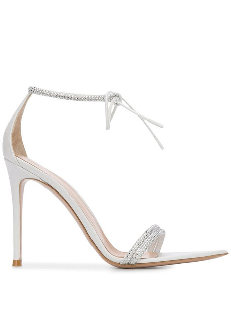 Gianvito Rossi Montecarlo crystal-embellished sandals in white