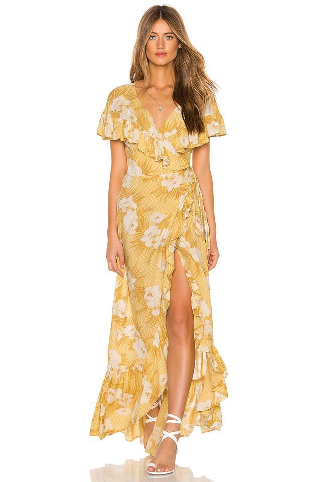 AMUSE SOCIETY Frill Seeker Maxi Dress in yellow