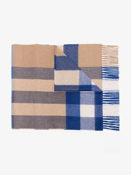 Burberry blue mega check cashmere scarf