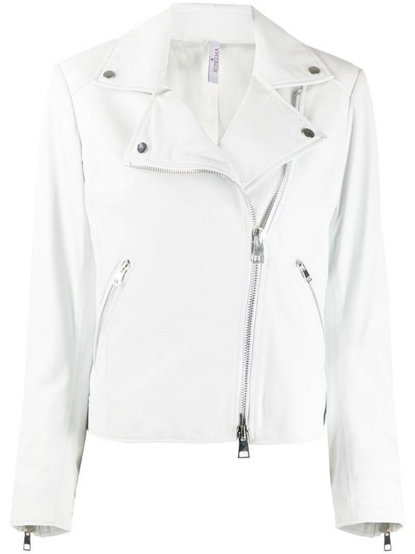 Suprema short biker jacket in white